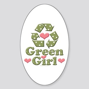 Green Girl Recycling Recycle Oval Sticker
