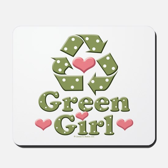 Green Girl Recycling Recycle Mousepad