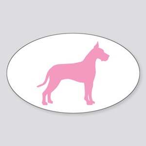 Pink Great Dane Oval Sticker