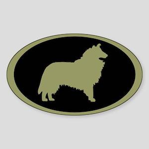 Sage & Black Collie Oval Sticker