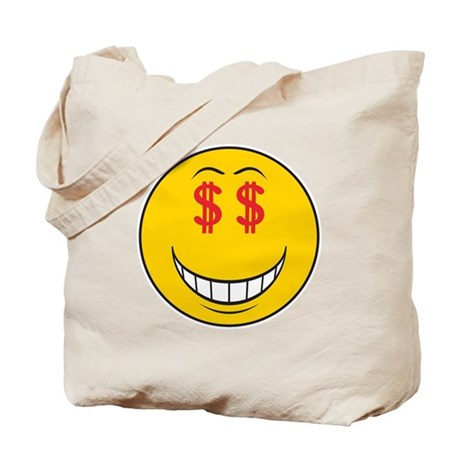 Money Eyes (Greedy) Smiley Face Tote Bag