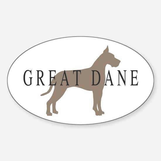 great dane greytones Oval Decal