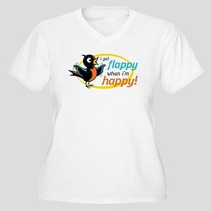 Flappy/Happy (OB) Women's Plus Size V-Neck T-Shirt