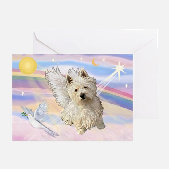 Westie Angel in Clouds Greeting Cards (Pk of 20)