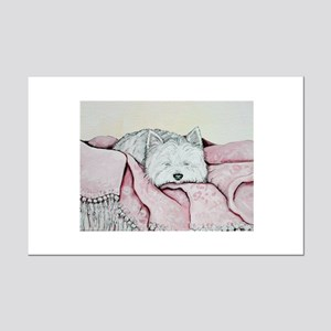 Snoozing Westie Mini Poster Print