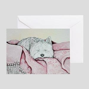 Snoozing Westie Greeting Card