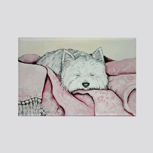 Snoozing Westie Rectangle Magnet