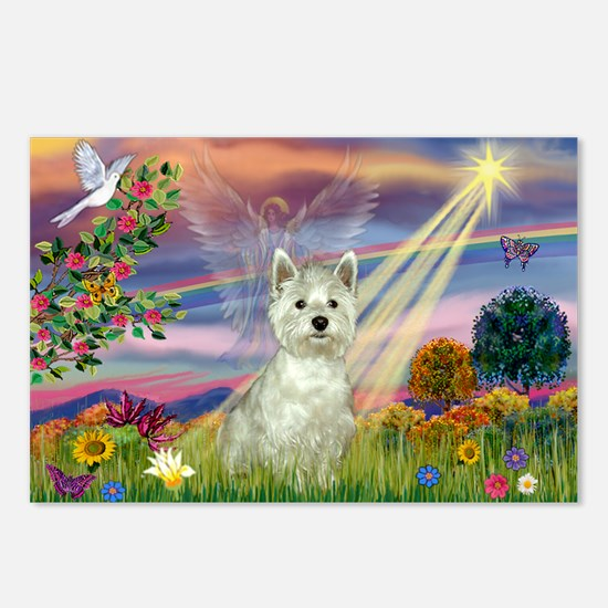 Cloud Angel / Westie Postcards (Package of 8)