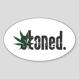 Vintage Stoned (Green Pot Leaf) Oval Sticker