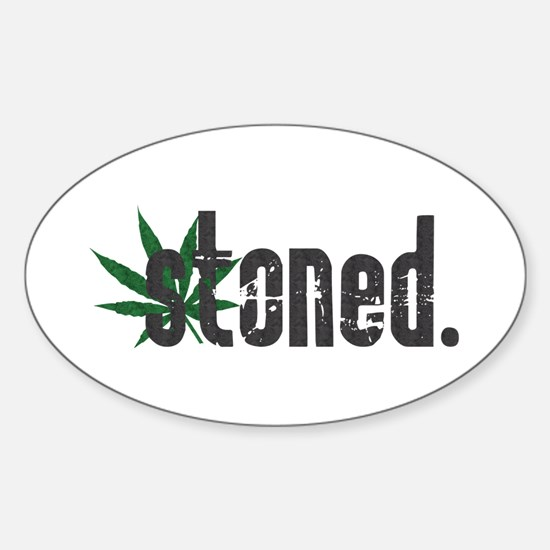Vintage Stoned (Green Pot Leaf) Oval Decal