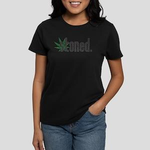 Vintage Stoned (Green Pot Leaf) Women's Dark T-Shi