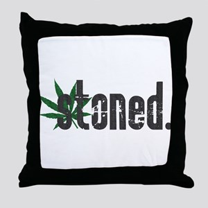 Vintage Stoned (Green Pot Leaf) Throw Pillow