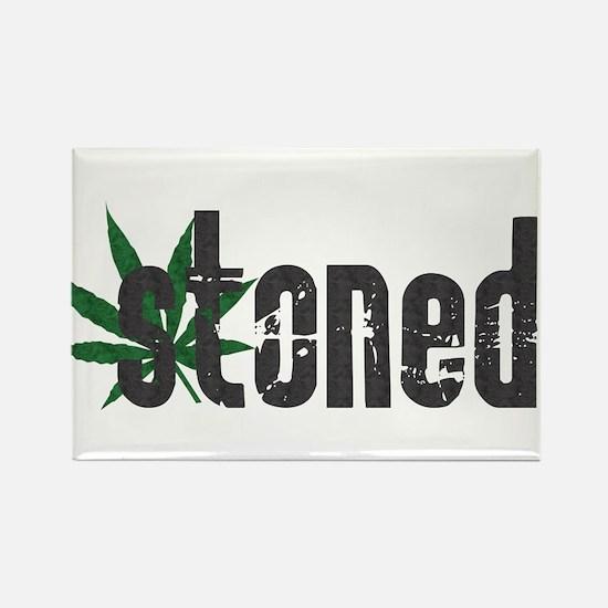 Vintage Stoned (Green Pot Leaf) Rectangle Magnet
