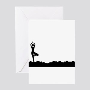 Tree Asana Silhouette Background Greeting Cards