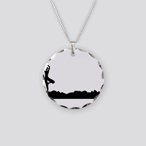 Tree Asana Silhouette Backgr Necklace Circle Charm