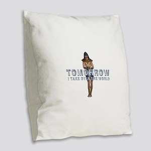 Rule the World Burlap Throw Pillow