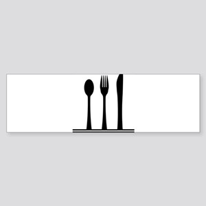 Knife Fork And Spoon Silhouette Bumper Sticker