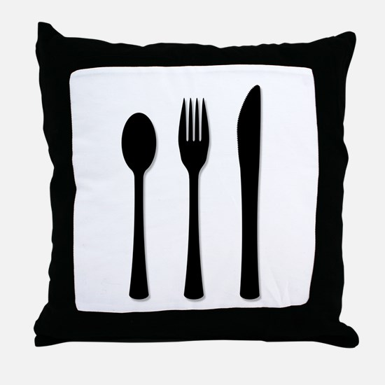Knife Fork And Spoon Throw Pillow