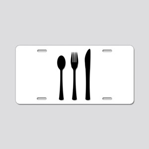 Knife Fork And Spoon Aluminum License Plate
