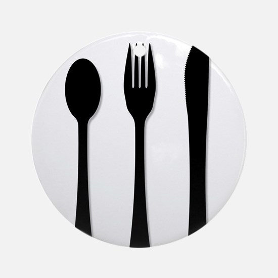 Knife Fork And Spoon Round Ornament
