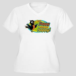 Flappy/Happy (OB2) Women's Plus Size V-Neck T-Shir