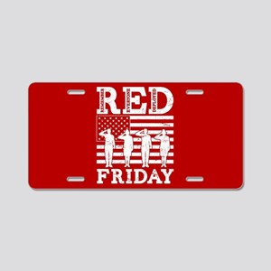 RED Friday Salute Aluminum License Plate