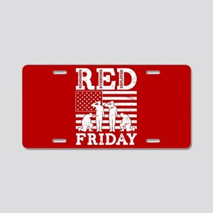 RED Friday Soldiers Aluminum License Plate