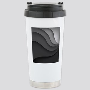 Black Abstract Stainless Steel Travel Mug