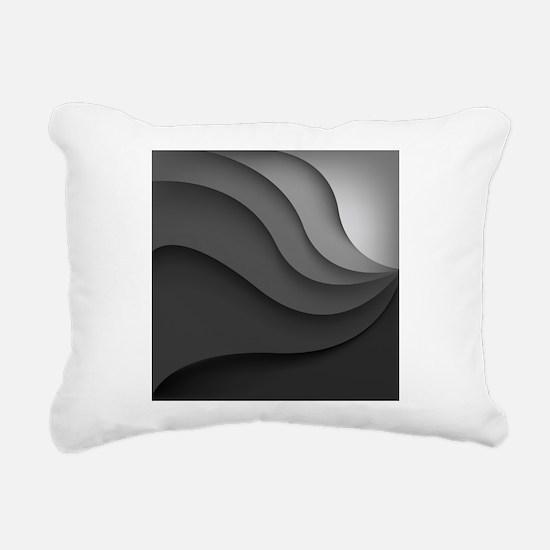Black Abstract Rectangular Canvas Pillow