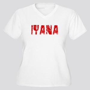 Iyana Faded (Red) Women's Plus Size V-Neck T-Shirt