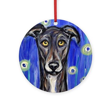 Portrait of a greyhound Ornament (Round)