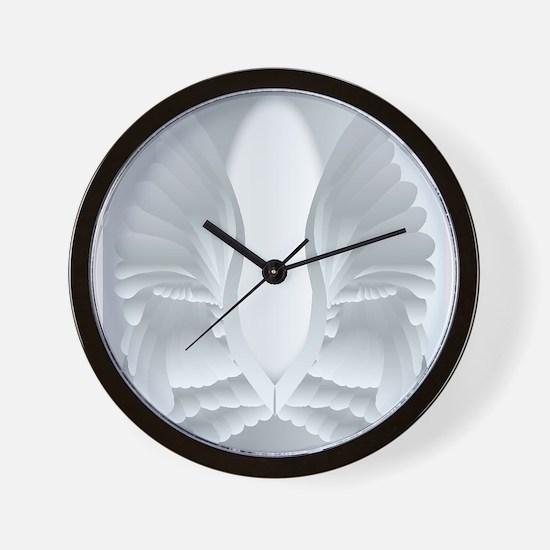 Silver Angel Wings Wall Clock