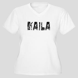 Kaila Faded (Black) Women's Plus Size V-Neck T-Shi