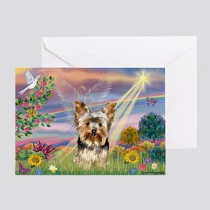 Cloud Angel & Yorkie Greeting Card