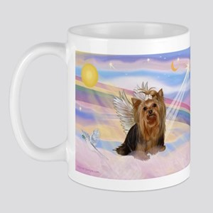 Yorkie Angel in Clouds Mug