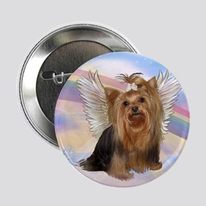 Yorkie Angel in Clouds Button