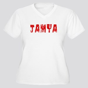 Jamya Faded (Red) Women's Plus Size V-Neck T-Shirt