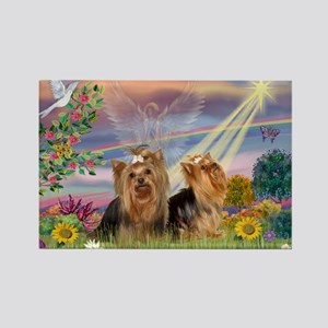 Cloud Angel & Yorkie Pair Rectangle Magnet