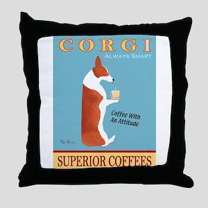 Corgi Superior Coffees Throw Pillow