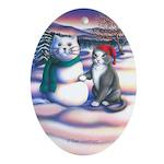 Snowcats Keepsake Oval Ornament