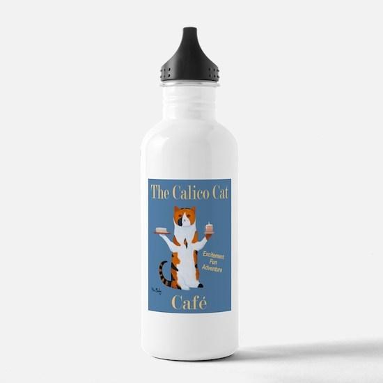 Calico Cat Café Water Bottle