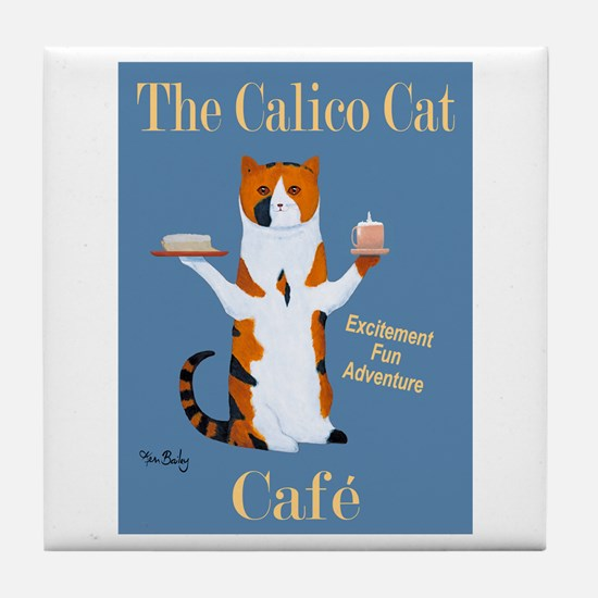 Calico Cat Café Tile Coaster