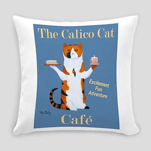 Calico Cat Café Everyday Pillow