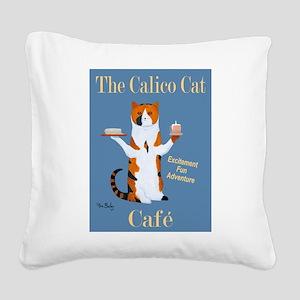 Calico Cat Café Square Canvas Pillow