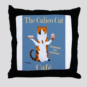 Calico Cat Café Throw Pillow
