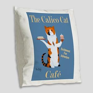Calico Cat Café Burlap Throw Pillow