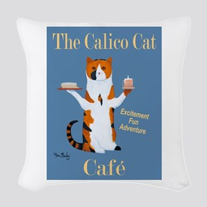 Calico Cat Café Woven Throw Pillow