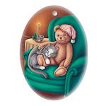 Miss B & Teddy Keepsake Porcelain Ornament(Oval)