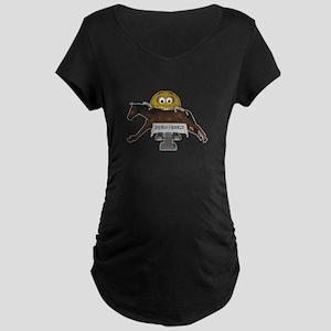 Smiley Equine Massage Maternity Dark T-Shirt