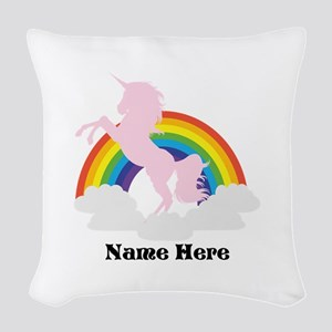 Unicorn Magic Personalized Woven Throw Pillow